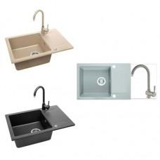 "Комплект полимерна гранитна мивка със смесител ""CELEBES"", 44х65х17 см."