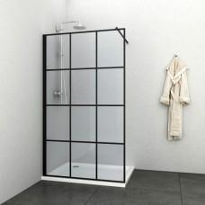 Стационарен параван за баня в черно, 90-120х195 см.