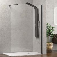 """Стъклен параван за баня """"Walkin 1 NERO"""", черен, 70-140х200 см."""