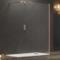 """Стъклен параван за баня """"Walkin 1 GOLD"""", злато, 70-140х200 см."""