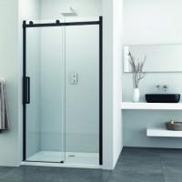 Преграден душ параван с плъзгаща врата, 120-140х195 см., черен