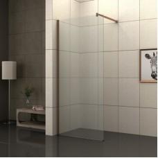Параван за баня БРОУДИ, прозрачен-розово злато, 80-90х200 см.