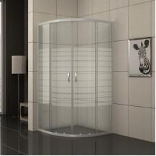 "Овална душ кабина рисувано стъкло ""EASY ASSEMBLE"", хром"
